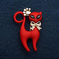 Брошь Котик красный в короне 4,5 см