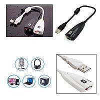 Внешняя звуковая карта 5HV2 (USB sound card) с разъёмами 3,5мм Черный
