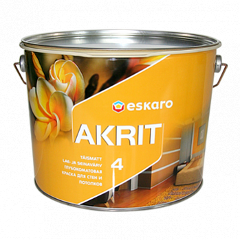 Глубокоматовая краска для стен и потолков Eskaro Akrit 4  9,5 л