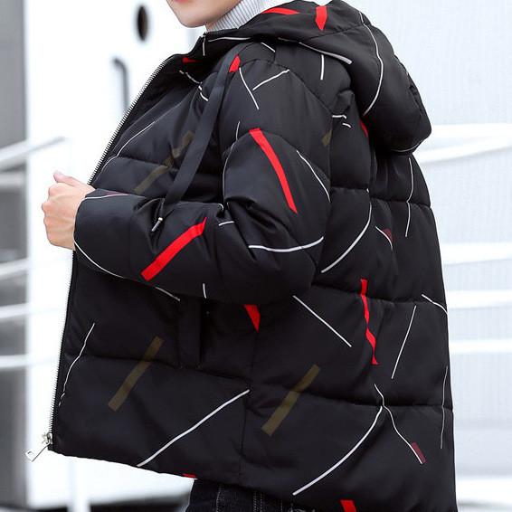 Куртка зимняя мужская, черный пуховик с ярким принтом  СС-8462-10