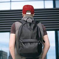 Кожаный мужской рюкзак городской на 20 литров черный mod.BORDER