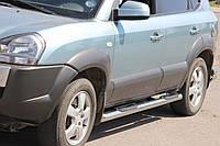 Hyundai Tucson JM 2004+ гг. Боковые трубы BB002 (2 шт., нерж.)