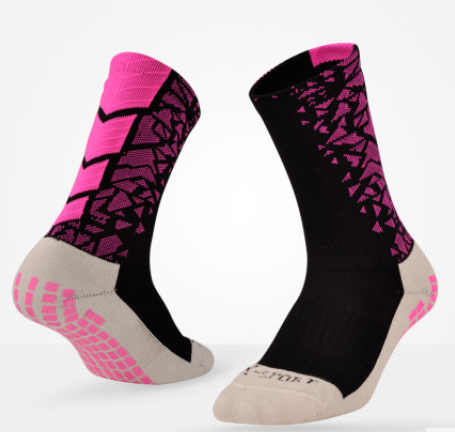 Спортивные высокие носки для футбола, баскетбола Lingtu для мужчин (черно-розовый)
