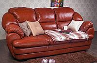 """Мягкий кожаный диван """"Аляска"""" трехместный, в наличии. Цвет """"Хани"""". мягкий диван от производителя"""