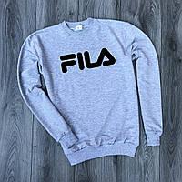 Мужской утепленный свитшот серый Fila big logo (копия)
