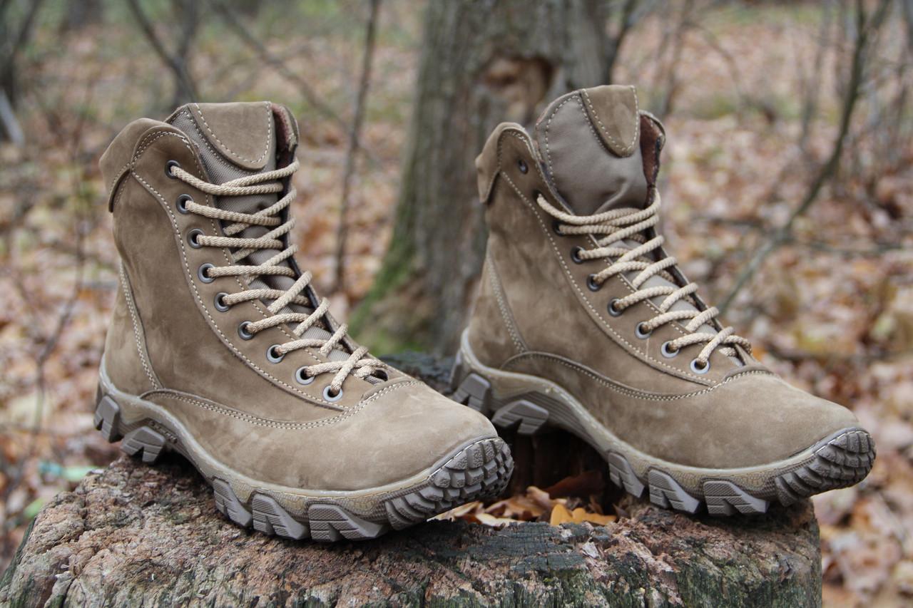 Тактические ботинки из натуральной кожи и меха - бежевый ботинок енерджи