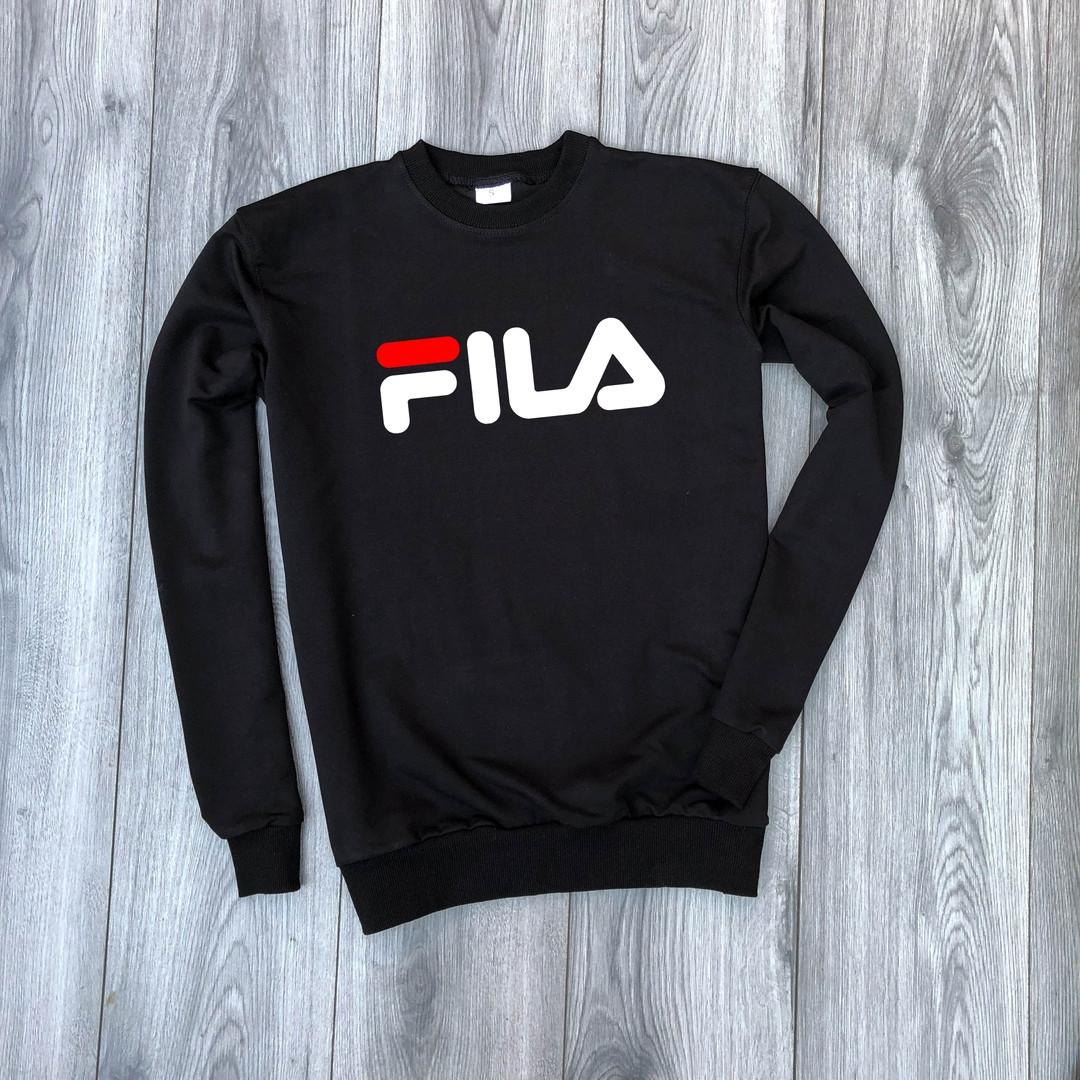 Мужской свитшот черный Fila big logo (копия)