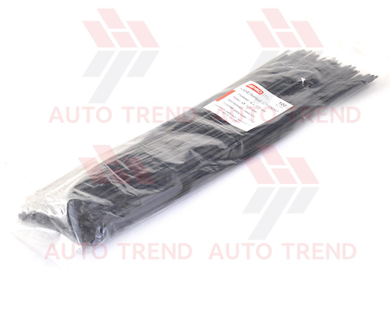 Хомут пластиковый 370х4,0мм черный (100 шт.) уп.