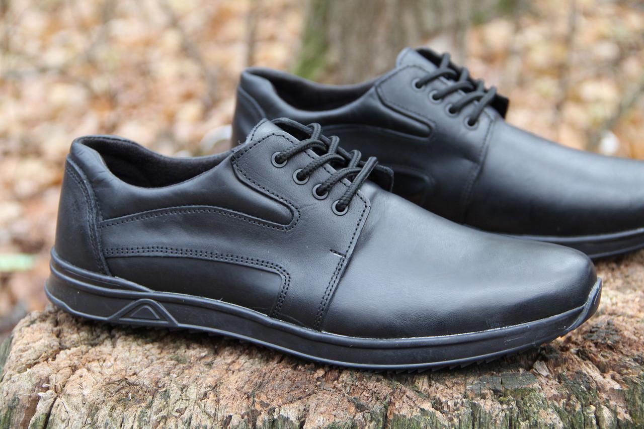 Туфли мужские из натуральной кожи черного цвета шнуровке Б 360