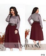 Контрастное платье с пышной юбкой, с подшитыми плиссированными складками и небольшой шлицей с 54 по 62 размер