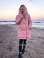 Женская зимняя куртка «Зефирка» силикон 300 новинка 2019 цвет розовый.