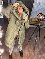Женская зимняя куртка «Зефирка» силикон 300 новинка 2019 цвет хаки.