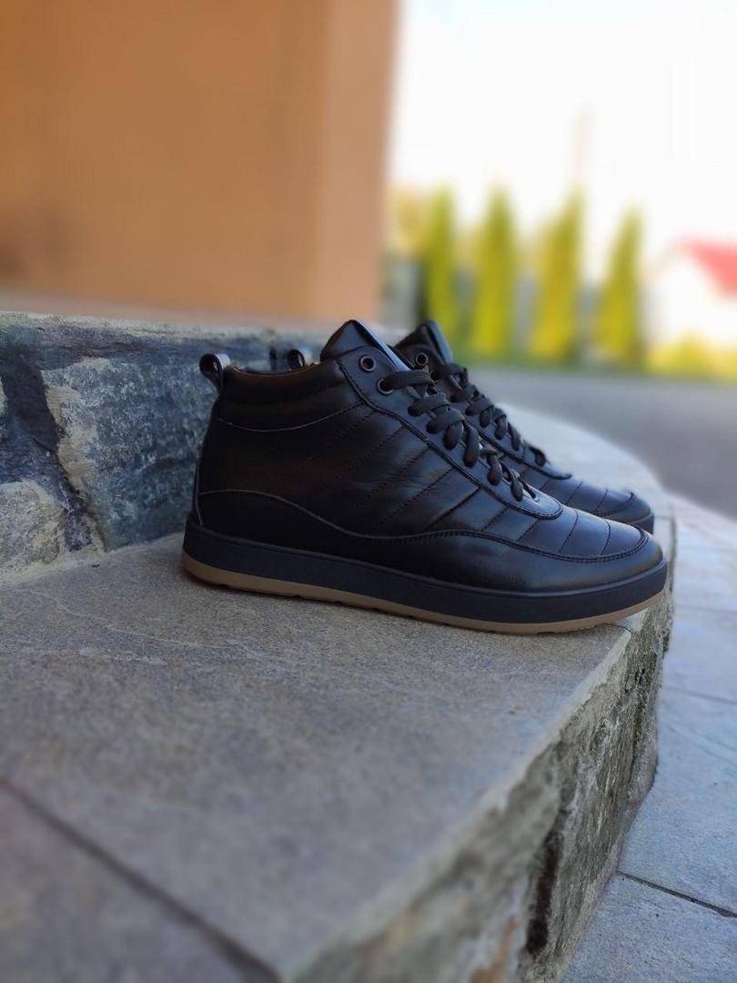 Мужские кроссовки кожаные зимние высокие стильные в черном цвете