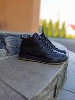 Мужские кроссовки кожаные зимние высокие стильные в черном цвете, фото 1