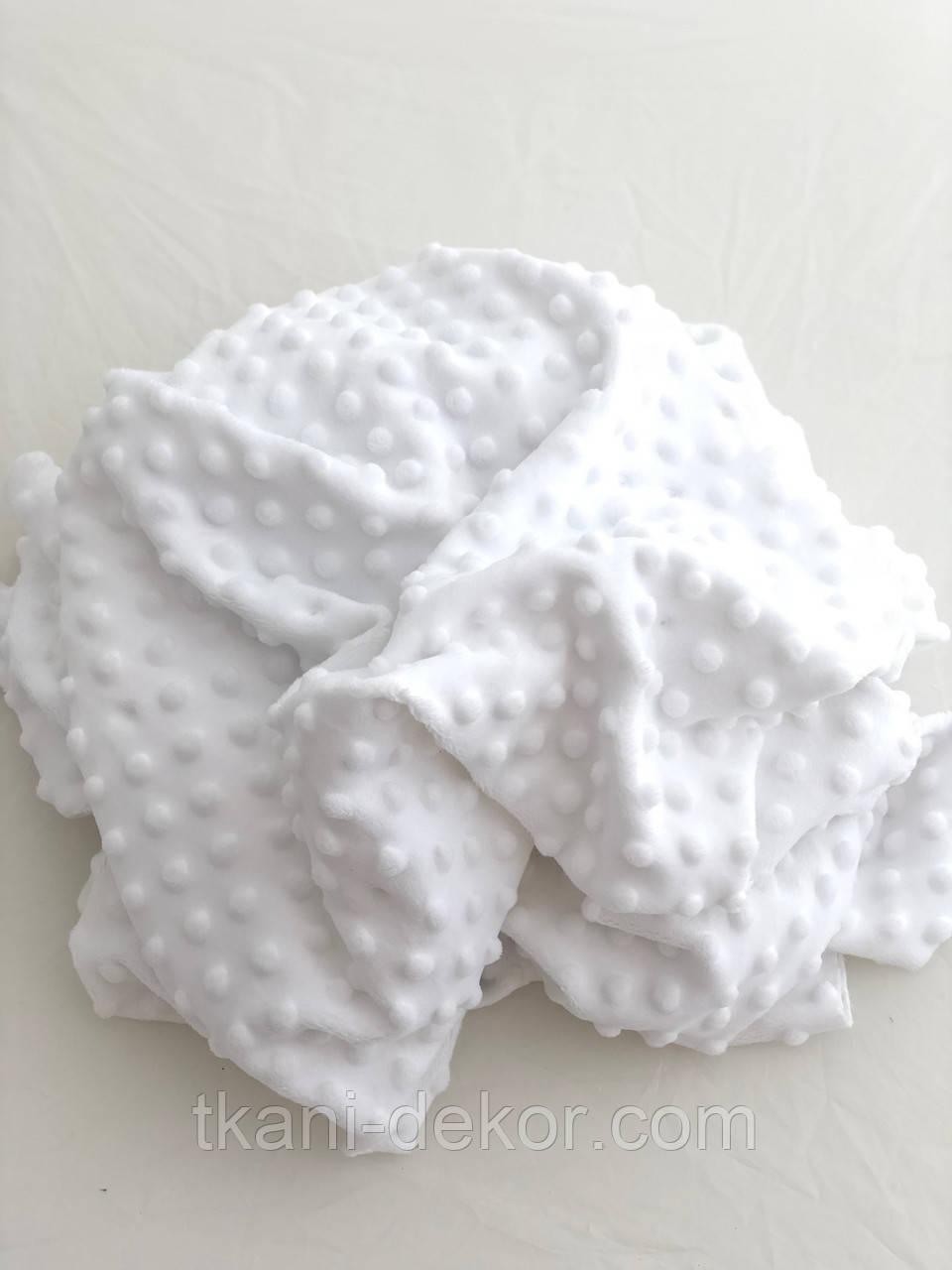 Плюшевая ткань Minky белого цвета  пупырка (новый)