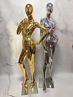 Манекен гипсовый хром и золото на стеклянной подставке