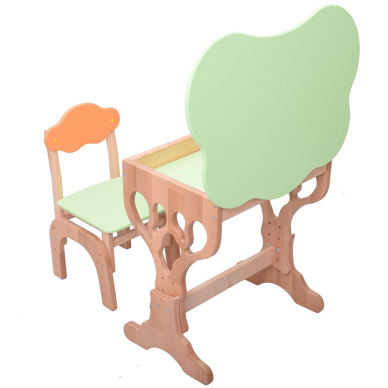 """Комплект детской мебели  из натурального дерева """"Дубок"""" растишка, стол+ стульчик с пеналом(салатовый)"""