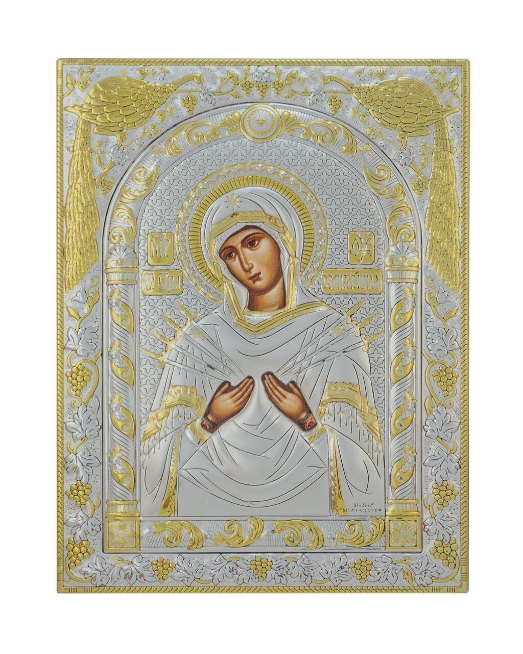 Семистрельная икона Божьей Матери  120 мм х 160 мм серебряная с позолотой