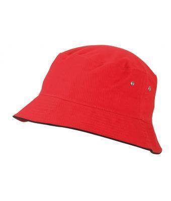 Подростковая хлопковая панама красная с черной окантовкой