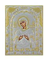 Семистрельная икона Божьей Матери  150 мм х 200 мм серебряная с позолотой, фото 1