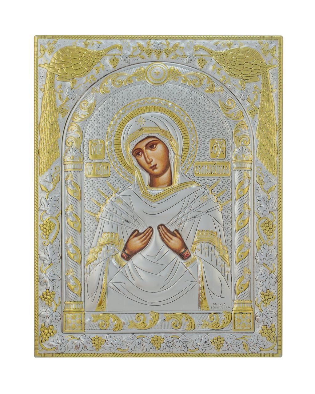 Семистрельная икона Божьей Матери  175 мм х 225 мм серебряная с позолотой