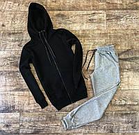 Мужской спортивный костюм с капюшоном кофта-замок черно-серый