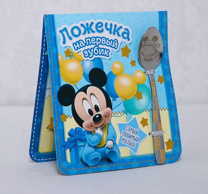 """Ложечка чайна """"Міккі Маус"""", Подарочная ложечка """"На первый зубик. Для малыша"""""""