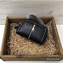 Мини сумка чемоданчик с ручкой застежка молния спереди / натуральная кожа #845 Черный