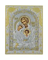 Икона Святое Семейство 120 мм х 160 мм серебряная с позолотой, фото 1