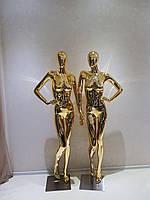 Манекен золотой женский на стеклянной подставке