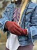 Перчатки женские с флисом бордовые