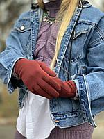 Перчатки женские с флисом бордовые, фото 1