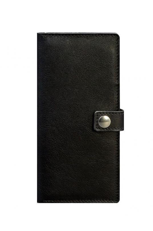 Кошелек на кнопке кожаный черный BN-TK-6-g