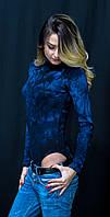 Женское стильное боди синего цвета с разводами, фото 1