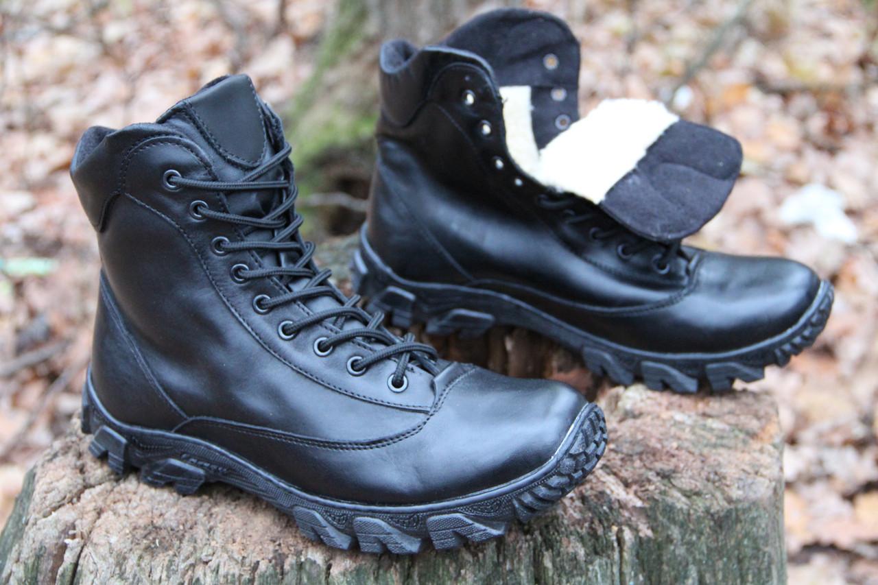 Тактические ботинки из натуральной кожи и меха - черный ботинок енерджи