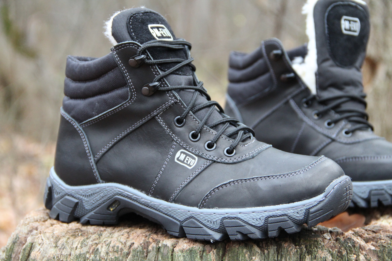 Тактические ботинки из натуральной кожи и меха - ботинок evo черный