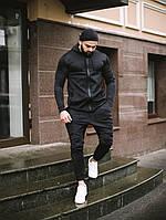 Спортивный костюм мужской весенний осенний качественный модный черный Дайвинг, фото 1