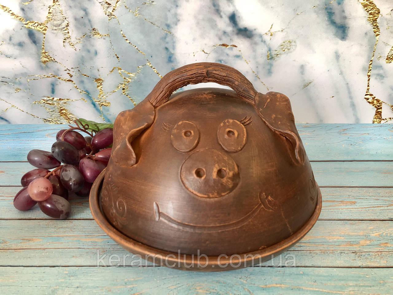 Сальница (тарелка и крышка) хрюшка ручной работы из красной глины