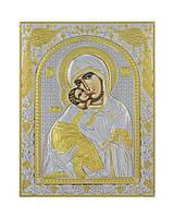 Владимирская икона Божией Матери 120 мм х 160 мм серебряная с позолотой, фото 1