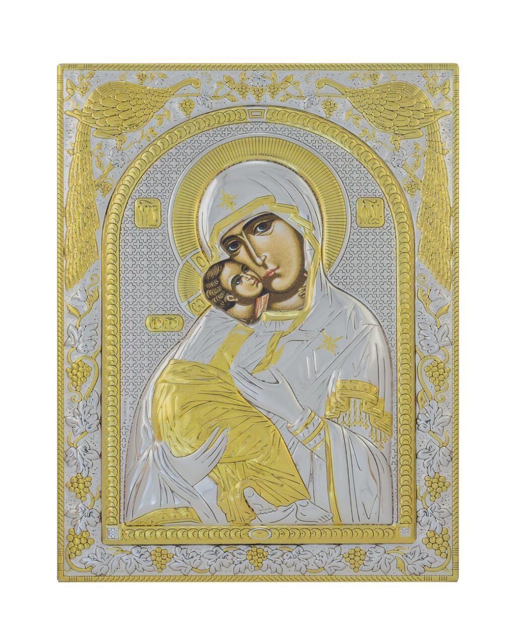 Владимирская икона Божией Матери 150 мм х 200 мм серебряная с позолотой