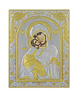 Владимирская икона Божией Матери 150 мм х 200 мм серебряная с позолотой, фото 1