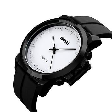 Классические мужские часы Skmei 1208 Черные с белым циферблатом