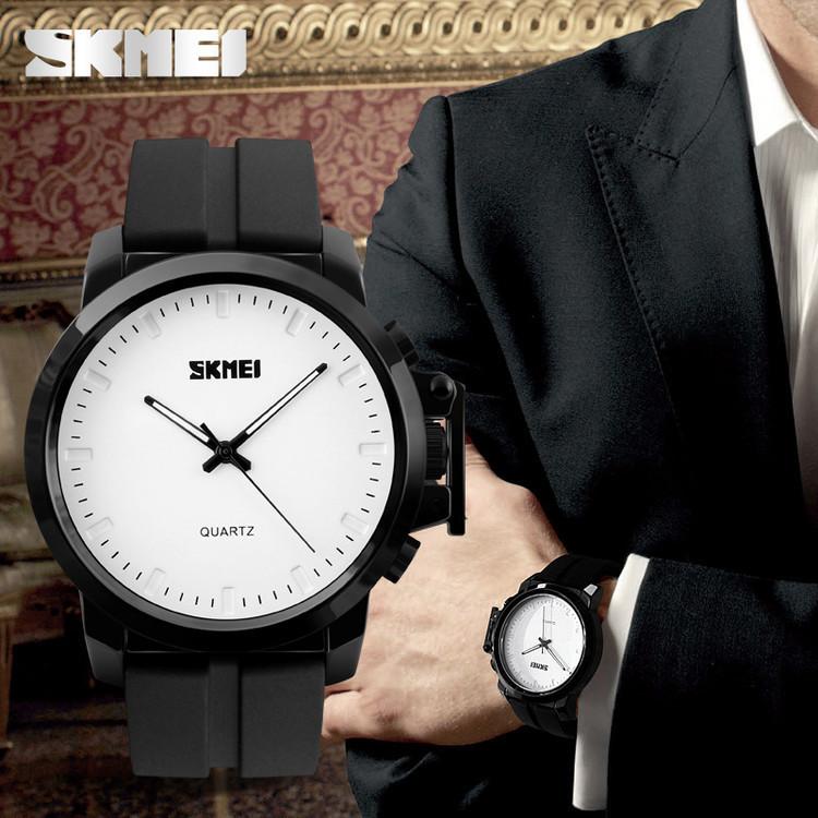 Skmei 1208 Черные с белым циферблатом классические мужские часы