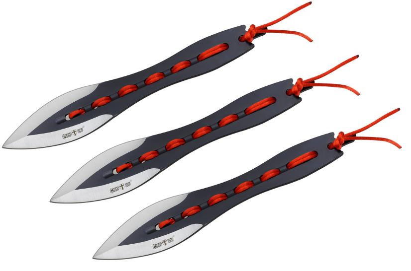 Набор 3 шт ножей для метания металл + плетеный шнур устойчив к царапинам черное лезвие + чехол для тренировок
