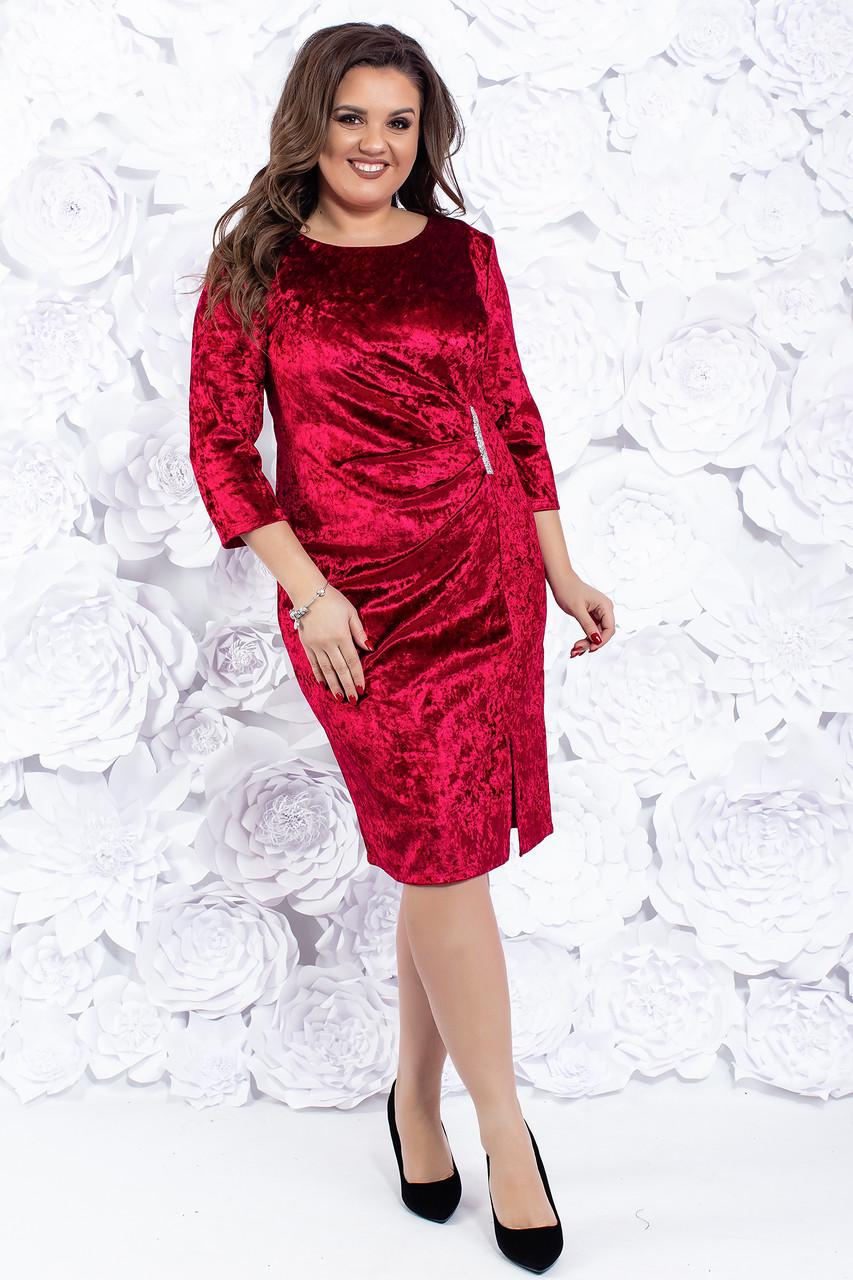 Бархатное вечернее платье с разрезом по ноге 52-54 р ( разные цвета )