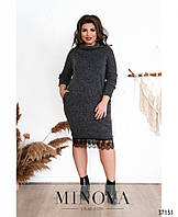 Теплое платье без застежек с воротником хомут с 48 по 62 размер