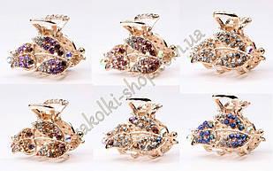 Краб для волос металлический с камнями чешское стекло модель №3, 6 штук