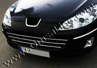 Peugeot 407 2005+ гг. Цельно-нержавеющая Решётка (нерж.)