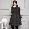 Стильное женское расклешенное стеганое пальто с поясом, черное