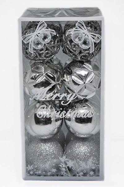 Елочные Игрушки Набор Новогодних Шаров в Коробке 16 шт Диаметр 6 см Серебристые